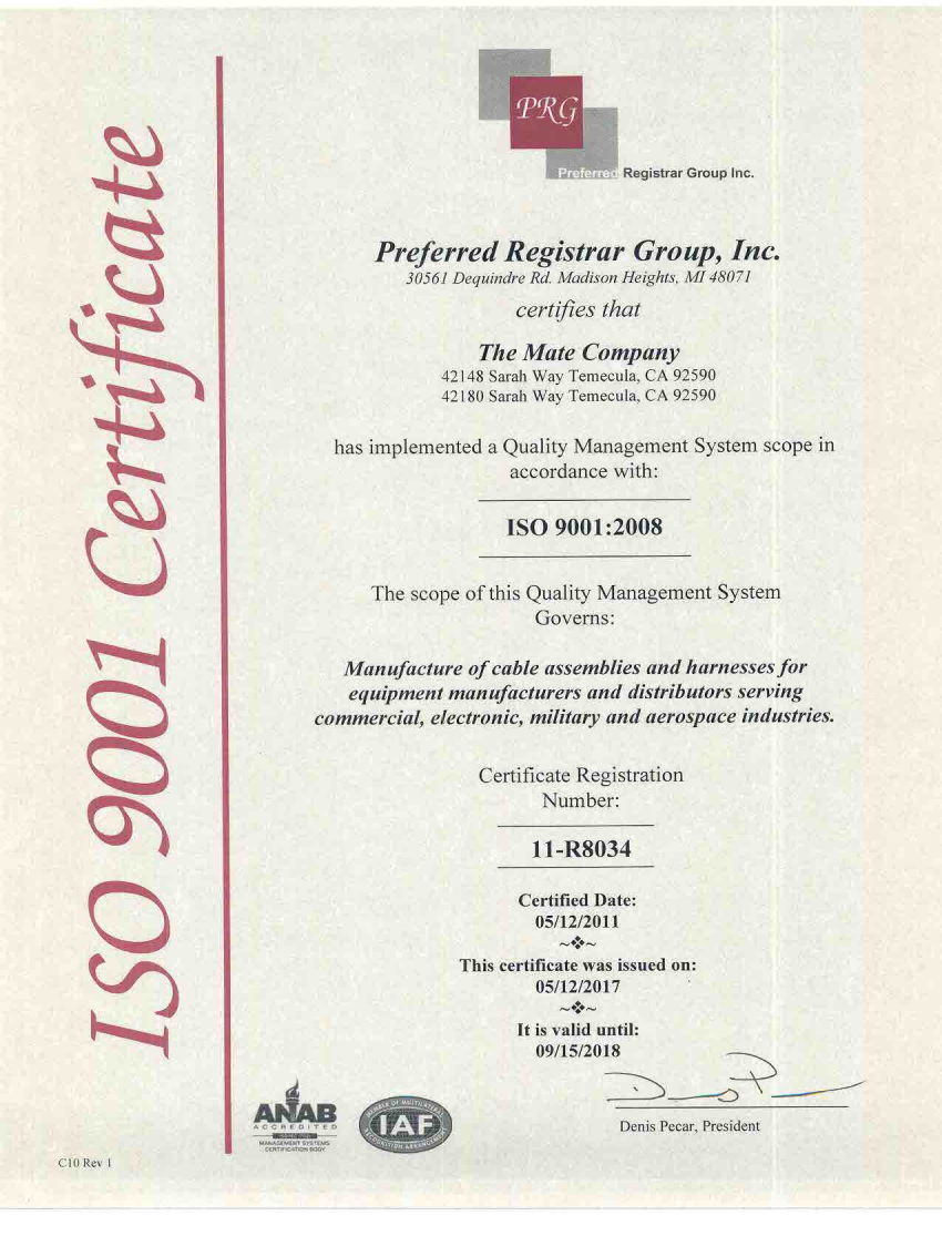 ISO Certificate for TMC